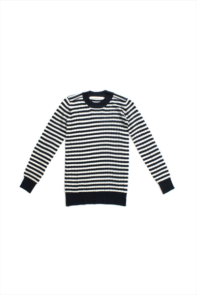 F&H Women's Cashmere Ribbed Crew Tee Stripes