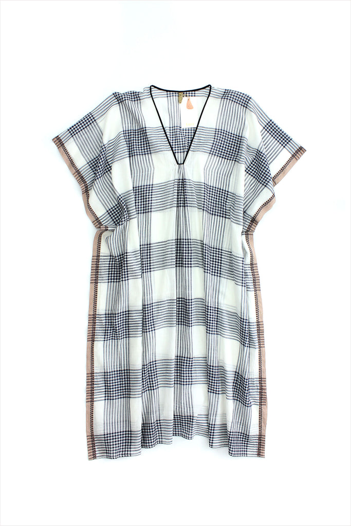 Two New York Plaid Tunic Navy White Sheer