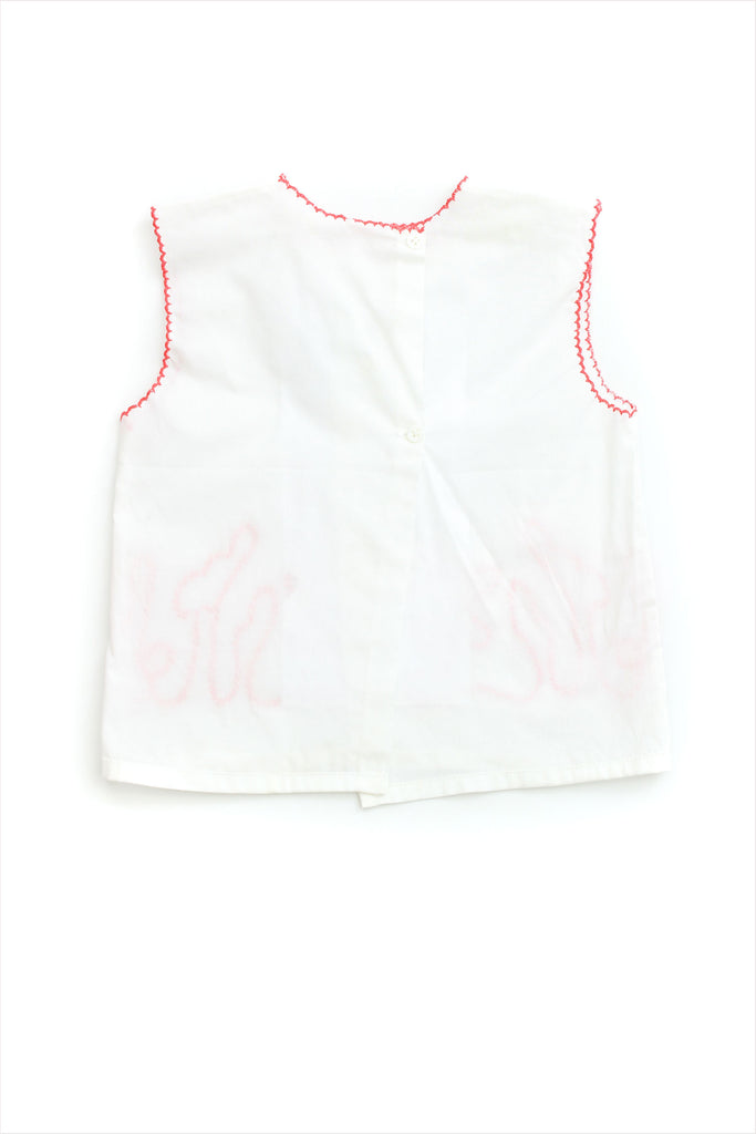 Embroidered Front Baby Top Peach