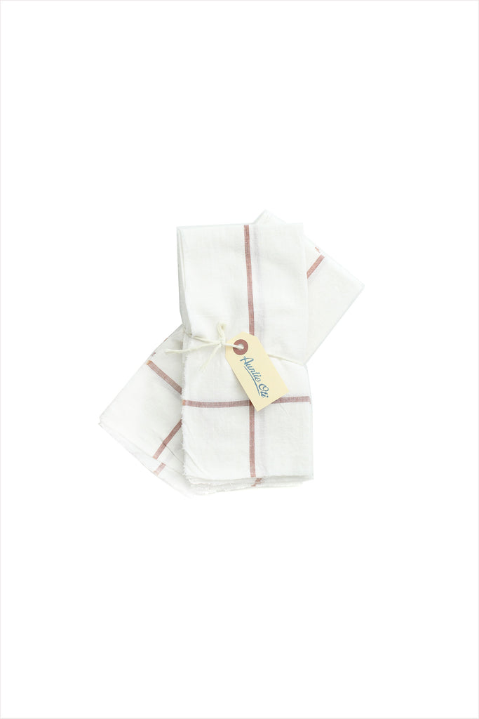 White With Clay Stripe Napkin Set
