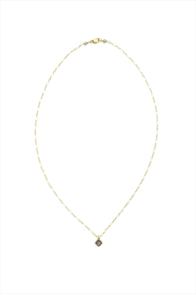 Iolite Faceted Pendant 14k Gold Necklace