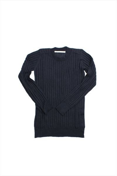 F&H Women's Cashmere Ribbed Crew Tee Navy