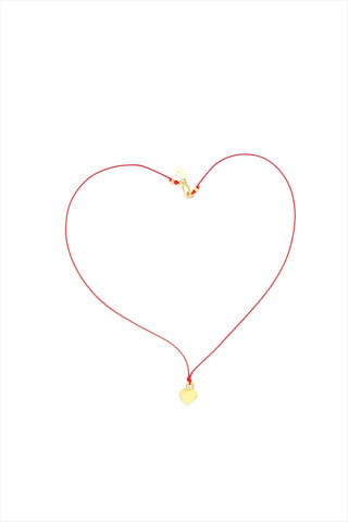 Gold Heart Charm on Silk Necklace