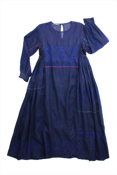 Injiri Muslin Dress 23 Indigo