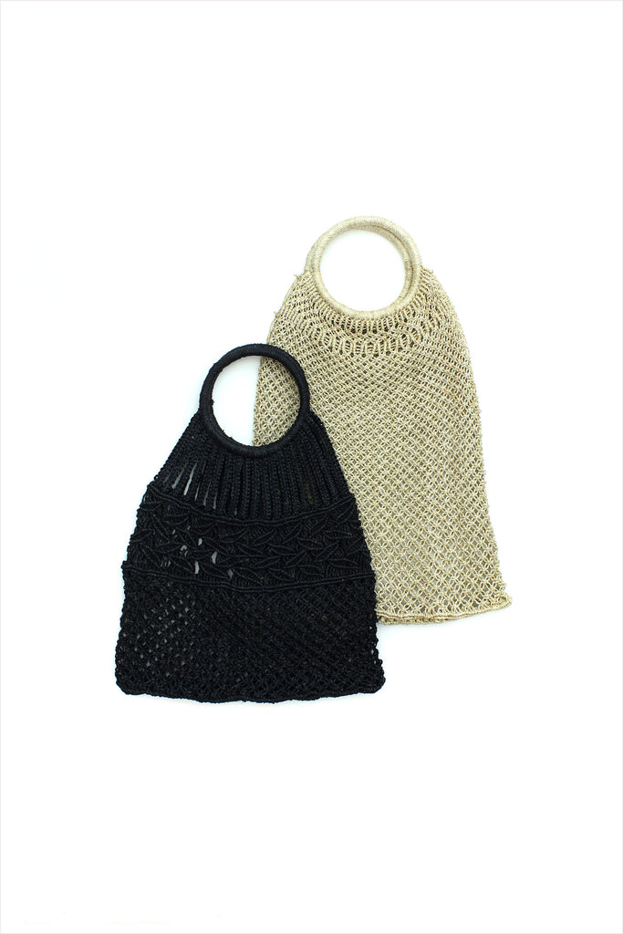Plain Jute Macrame Bag With Round Handle