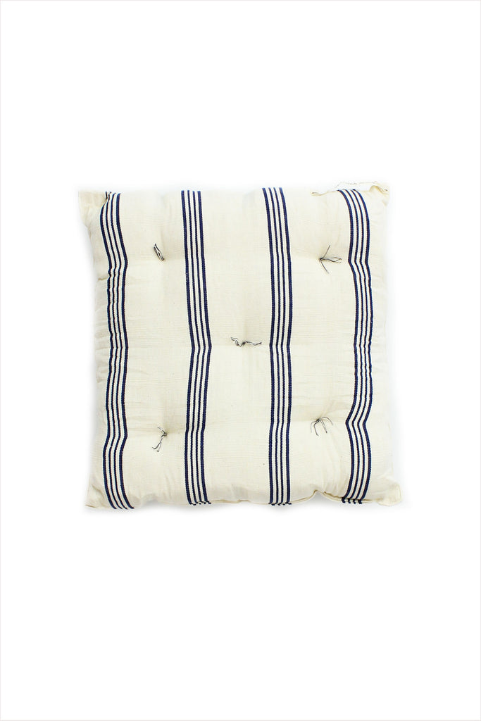Square Cushion Navy And Off White Triple Stripe