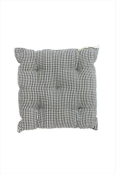 Square Cushion Gingham Black