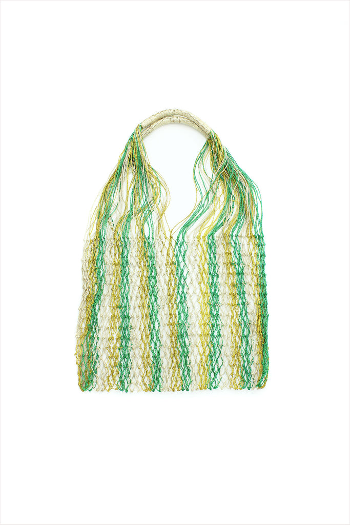Macrame Beach Bag Green Yellow