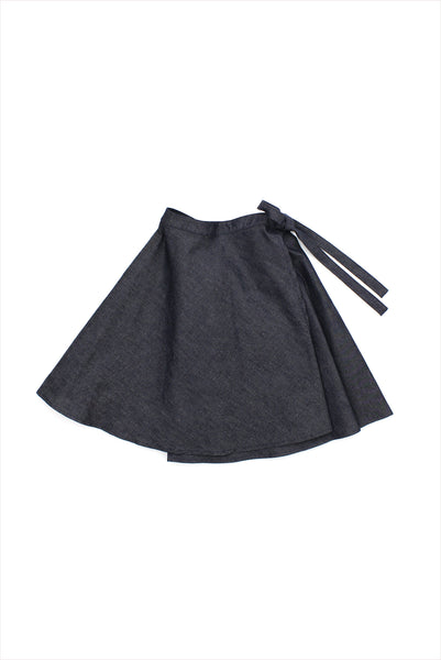 Sample Sale Wrap Skirt 6year Blue Denim