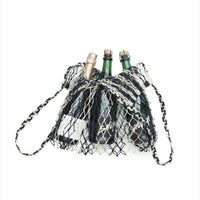 Macrame Filet Bag Indigo Stripe