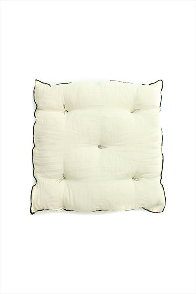 Square Cushion Off White Black Piping
