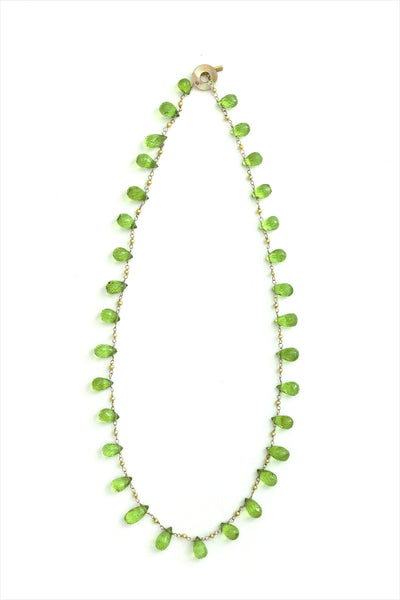 Curtis Steiner Peridot Briolettes And Golden Pearl Necklace