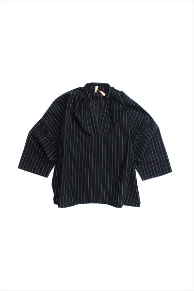 Two New York Black Khadi Striped Shirt Long Sleeve