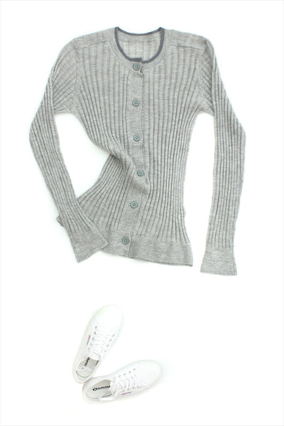F&H Women's Cashmere Rib Cardigan Accented Grey