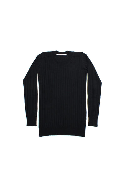 F&H Women's Cashmere Ribbed Crew Tee Black