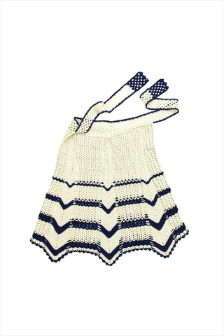 Sample Sale Crochet Tie Skirt 8year Ecru Navy