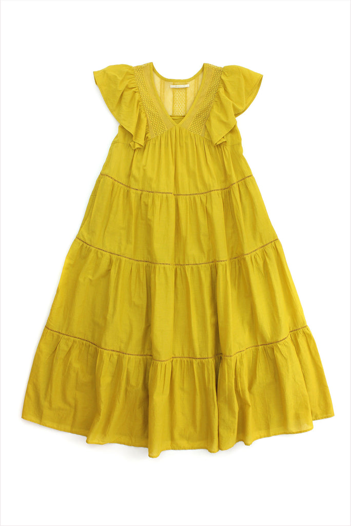 C Voil Lace Long Dress Yellow