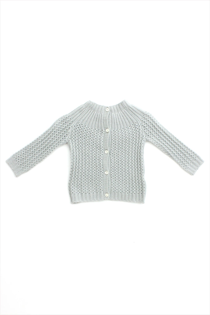 Cashmere Yoke Cardigan Dove Grey