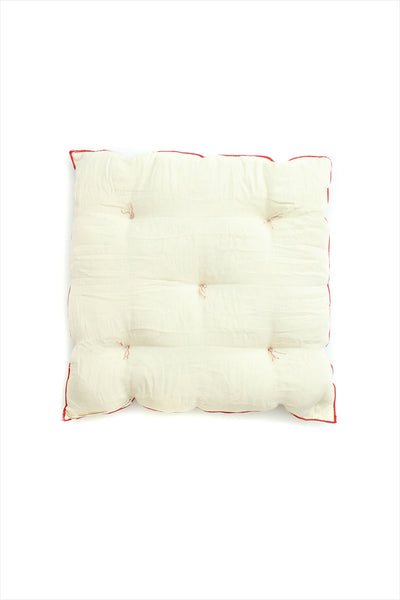 Square Cushion Off White Red Piping