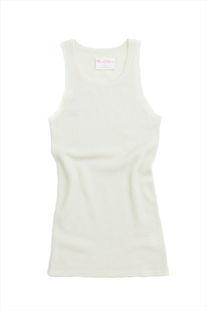 F&H Women's Cashmere Ribbed Tank Creme