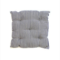 Square Cushion Navy And Off White Small Stripe