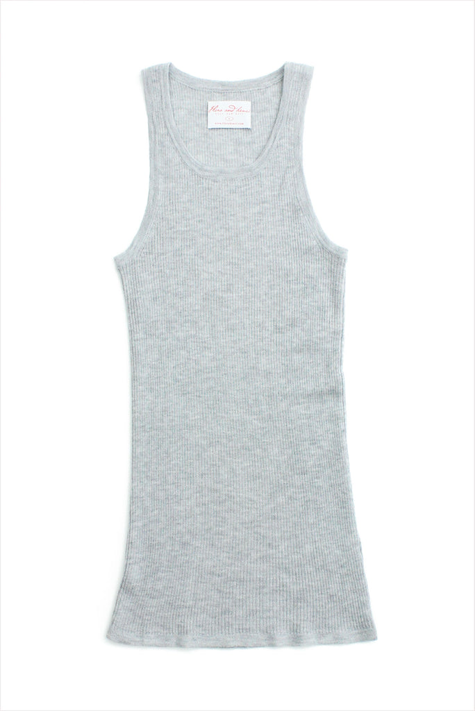 F&H Women's Cashmere Ribbed Tank Heather Grey