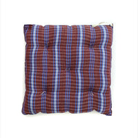 Square Cushion Tartan Red Blue Off White