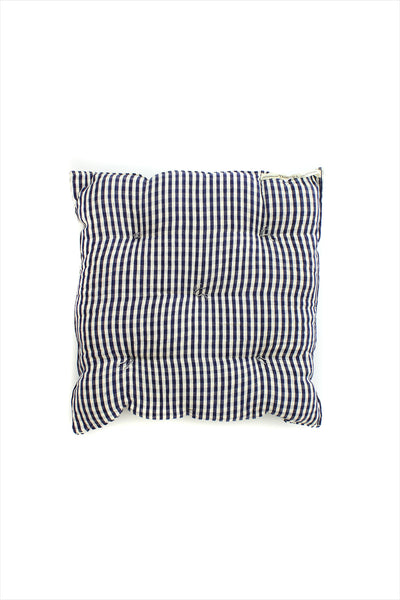 Square Cushion Gingham Blue Off White