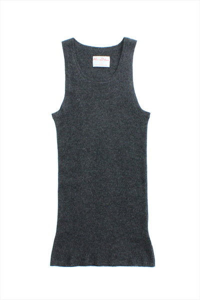 F&H Women's Cashmere Ribbed Tank Charcoal