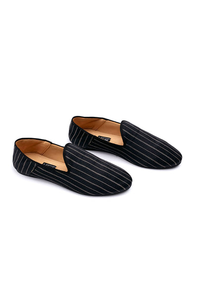 Liwan Babouche Men's Slipper Black Silver