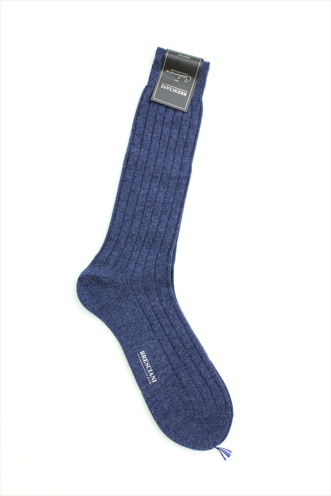 Bresciani Men's Cashmere Rib Socks Heather Blue