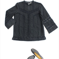 Dot Dobby Lace Top Black