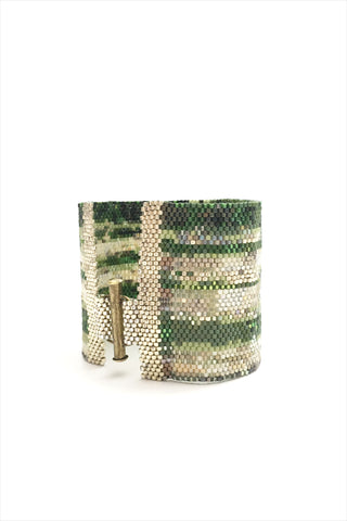 Green Leaf Beaded Cuff