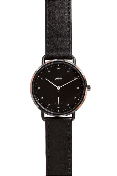 Frosted Rose Watch With Black Leather
