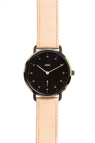 Havana Black Watch With Natural Leather