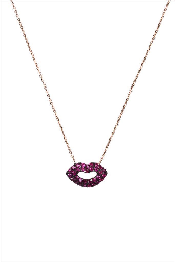 Kiss Lips Ruby Necklace
