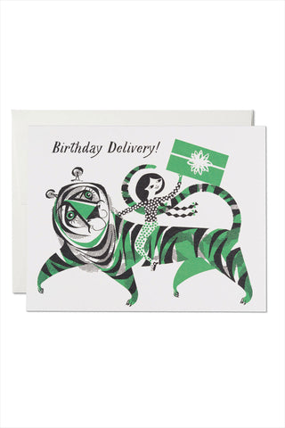 Green Tiger Birthday Card