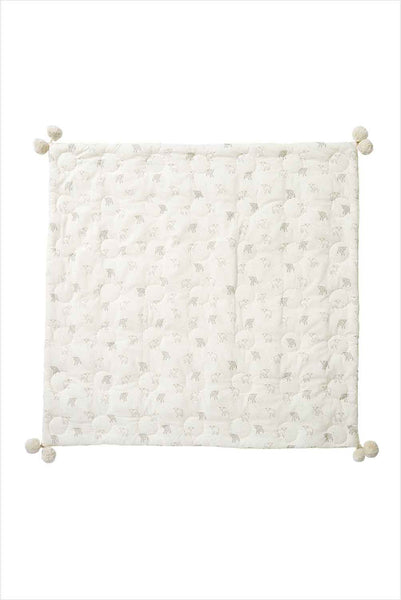 Hatched Blanket Little Lamb With Pom Poms