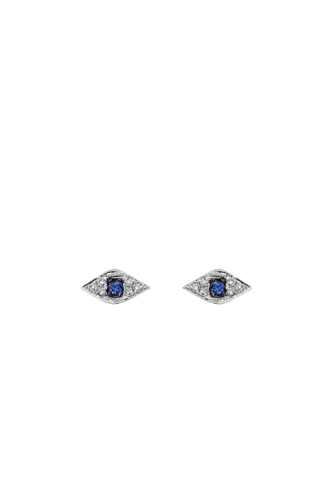 Mini Evil Eye Stud Earrings White Gold