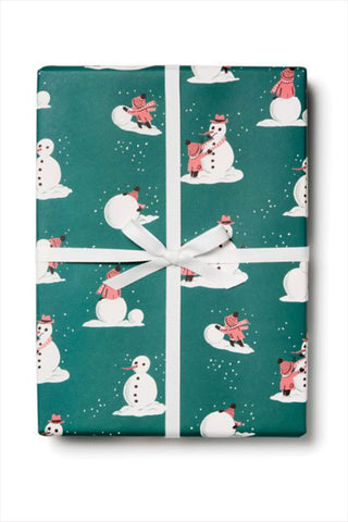 Building Snowman Wrapping Paper