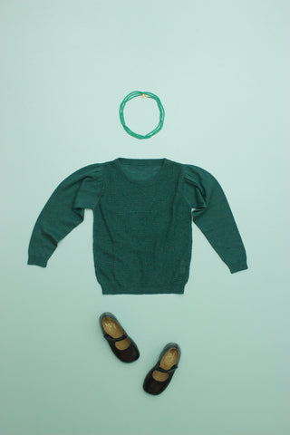 Silk Cashmere Puff Sweater Pine