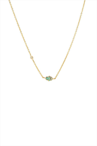 Mini Enamel Hamsa Necklace