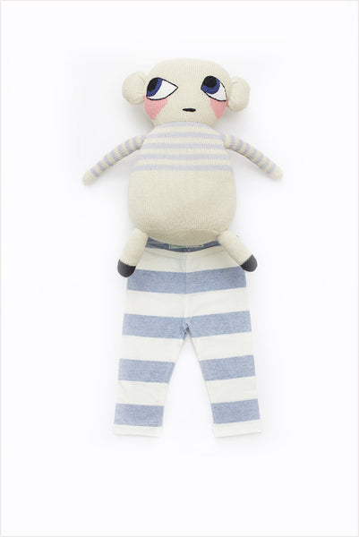 Wide Stripe Baby Legging Pale Blue