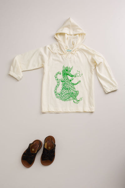 Year Of The Dragon Hoodie Ecru/Green