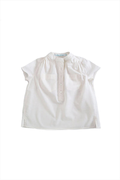 Cap Sleeve Banded Collar Blouse Cream