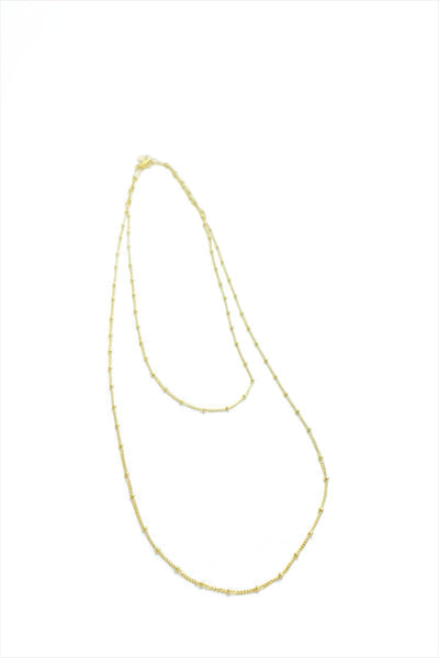 Beaded Gold Chain Necklace Long