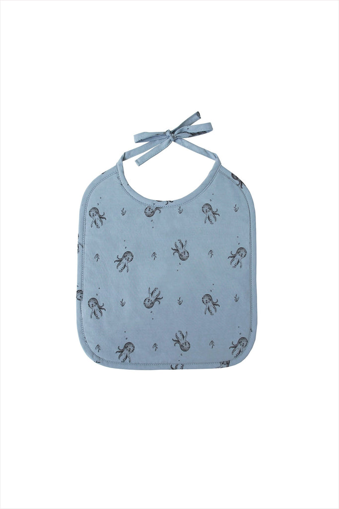 Printed Bib Octopus Blue Grey
