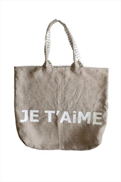 Je T'aime Linen Beach Bag