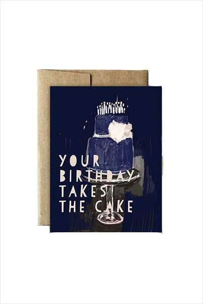 Blue Cake Birthday Card