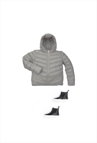 Chevron Short Puffer Grey